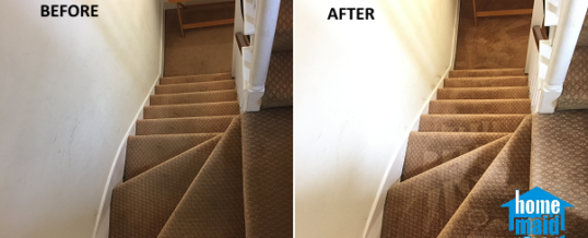 Staircase carpet cleaning in a shared house in Pimlico, London SW1P